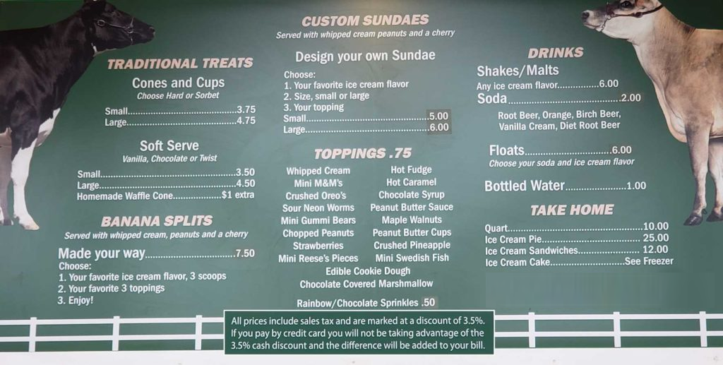 Bellvale Farms Menu Board